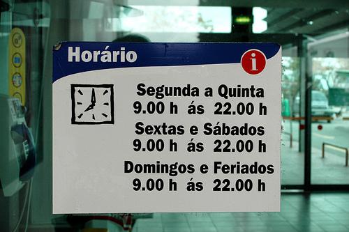 Horários em Portugal...